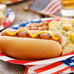 hot dog on 4th of july plate